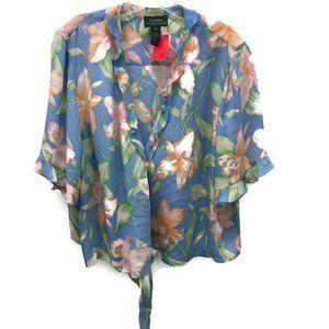 Ralph Lauren Blue Floral Silk Blouse